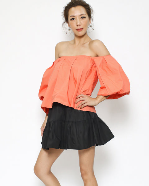 orange off shoulders shirt cropped top