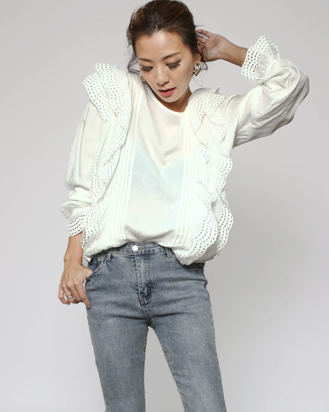 ivory crochet ruffles sides top