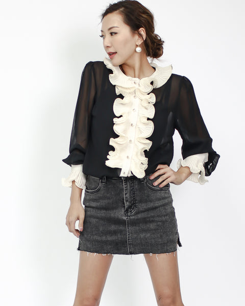 black chiffon with being ruffles & slip shirt top
