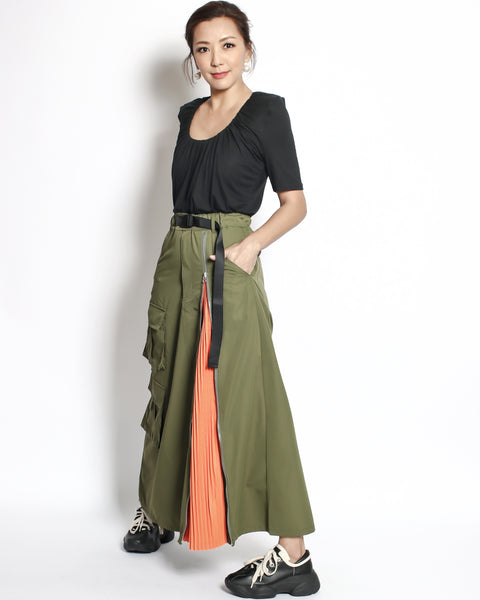 olive green with orange pleats and pockest front tie-up wist longline skirt *pre-order*
