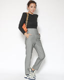 grey high waist button front straight pants
