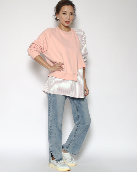 peach & pink stripes shirt sweatshirt *pre-order*