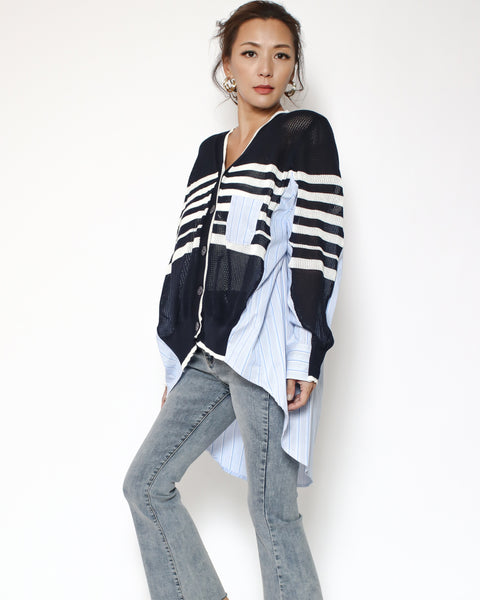 navy stripes knitted with blue stripes shirt back cardigan *pre-order*