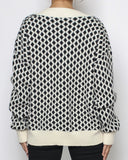 ivory & black patterned knitted top *pre-order*