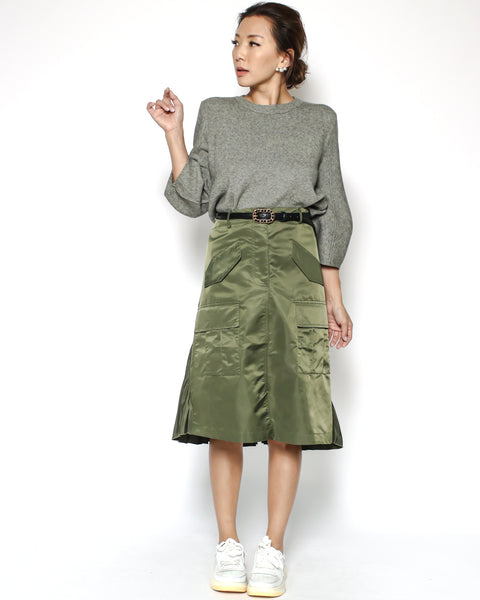 green technic pleats back skirt