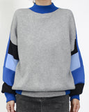 Grey knitted with blue & navy neoprene contrast sleeves top *pre-order*