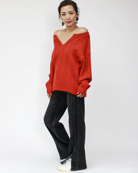 red cable knitted off shoulders top *pre-order*