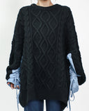 black cable longline knitted top with blue stripes ruched sleeves contrast *pre-order*