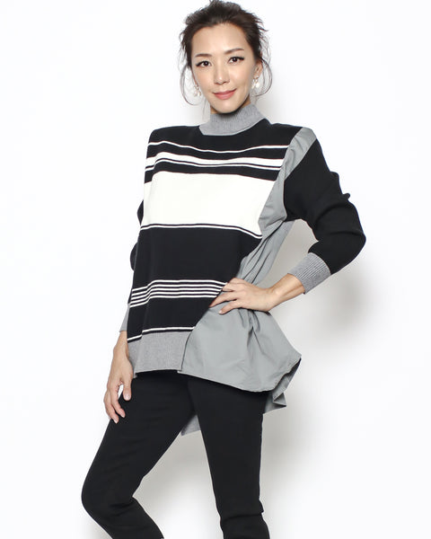 grey black & ivory stripes knitted & shirt top