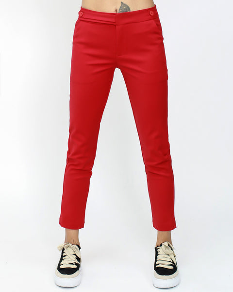 red low rise skinny cropped pants *pre-order*