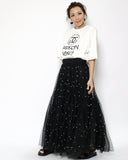 black mesh layers & pearls skirt