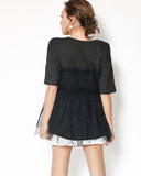 black mesh layer stretch waist tee *pre-order*