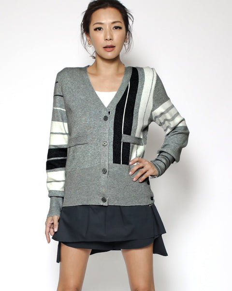 grey & ivory stripes cardigan