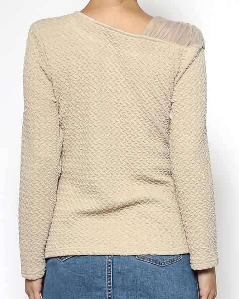 beige texture & mesh shoulder top