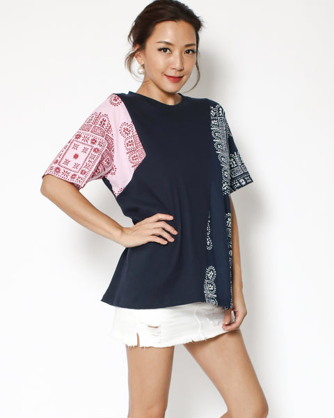 navy tee with banana printed contrast sleeves
