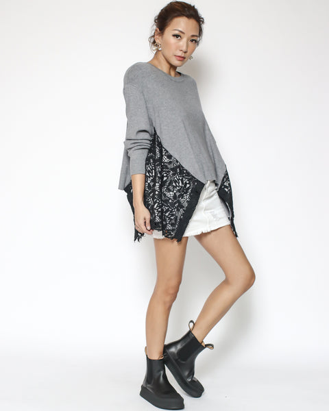 grey knitted with black lace sides asymmetric top