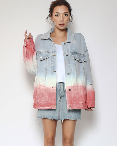 blue with pink ombre denim jacket