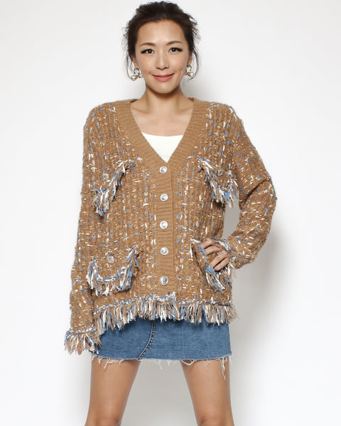 camel & blue tweed knitted cardigan