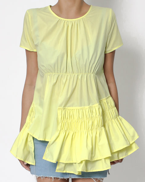 yellow ruffles hem shirt top