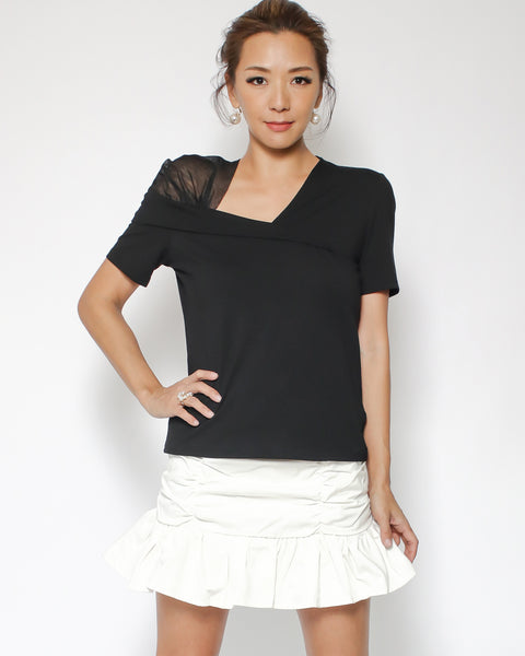 black tee with mesh shoulder *pre-order*