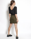 army green asymmetric hem twill skort with belt *pre-order*