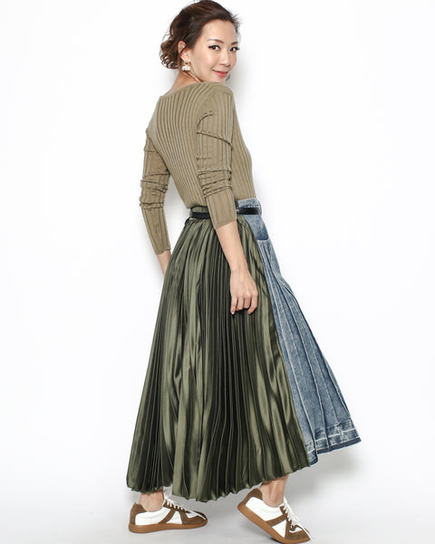 washed denim & green satin pleats skirt *pre-order*