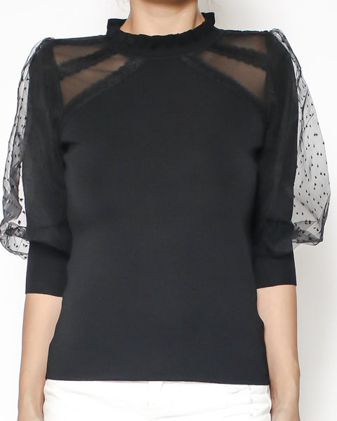 black knitted with polka dots lace sleeves top *pre-order*