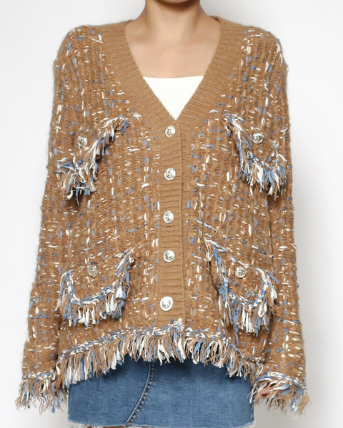 camel & blue tweed knitted cardigan *pre-order*