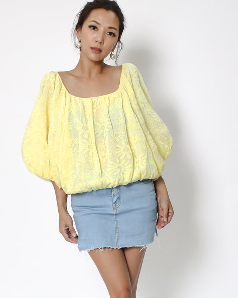 yellow lace puff sleeves top *pre-order*
