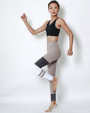 beige with white & black panel stripes sports leggings *pre-order*