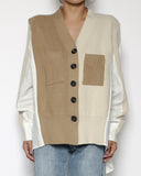 camel & beige with white shirt cardigan *pre-order*