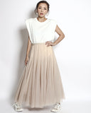 ivory pleats sides shoulder pad vest *pre-order*