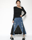 black cutout neckine ruched sides tee *pre-order*