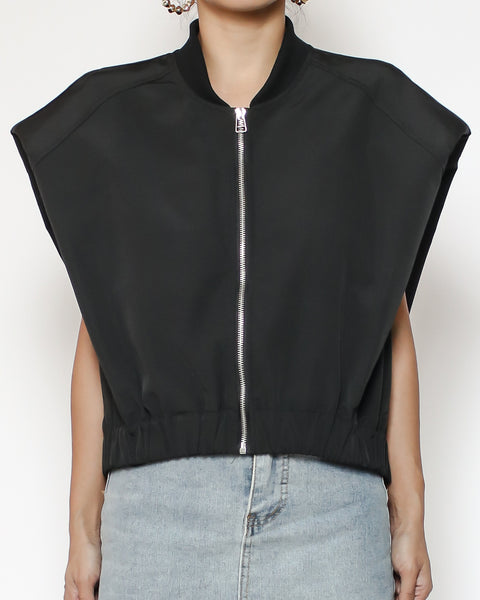 black technic weave drop shoulders zipper vest