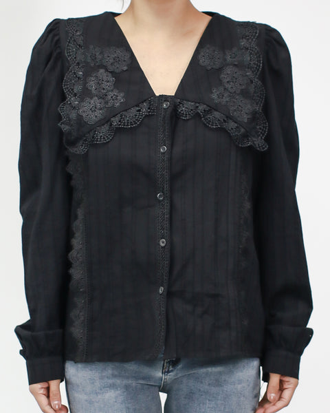 black dark grain crochet collar shirt