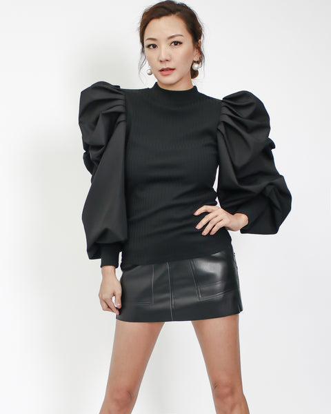 black ottoman with shirt puff sleeves top