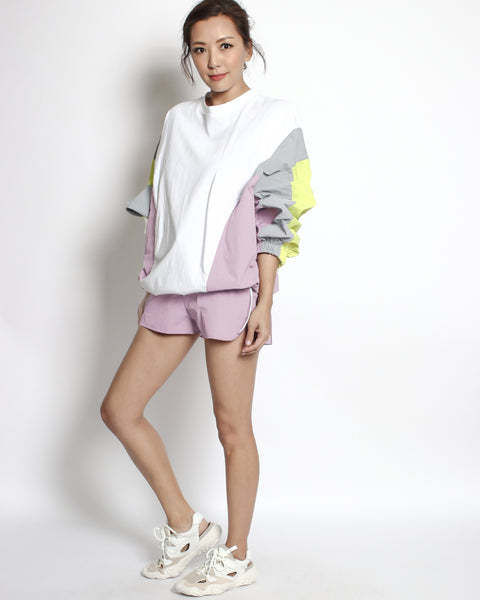 white tee & pink yellow grey technic weave sweatshirt & shorts set *pre-order*