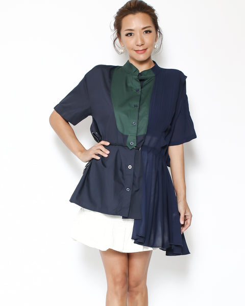 navy shirt with chiffon & green shirt contrast asymmetric hem top