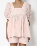 pink embossed puff sleeves top & shorts set *pre-order*