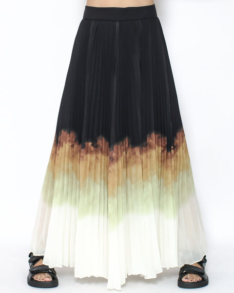 black ombre chiffon pleats longline skirt *pre-order*