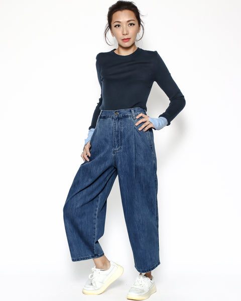 "Denim baggy cropped jeans ""pre-order*"