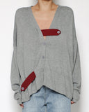 grey knitted cardigan & burgundy straps *pre-order*