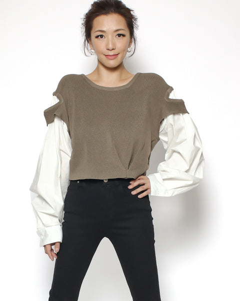 brown knitted & ivory sleeves cropped top