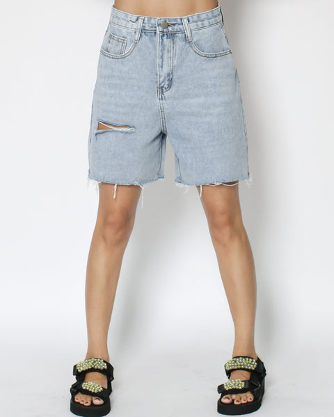 denim ripped mid-rise shorts *pre-order*