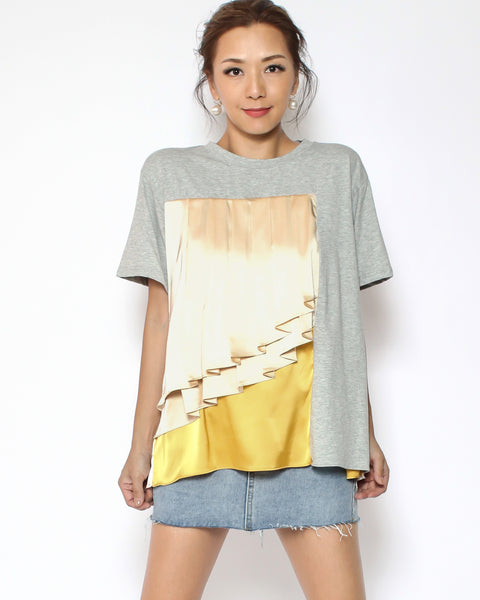 grey tee with nude pleats & yellow satin contrast *pre-order*