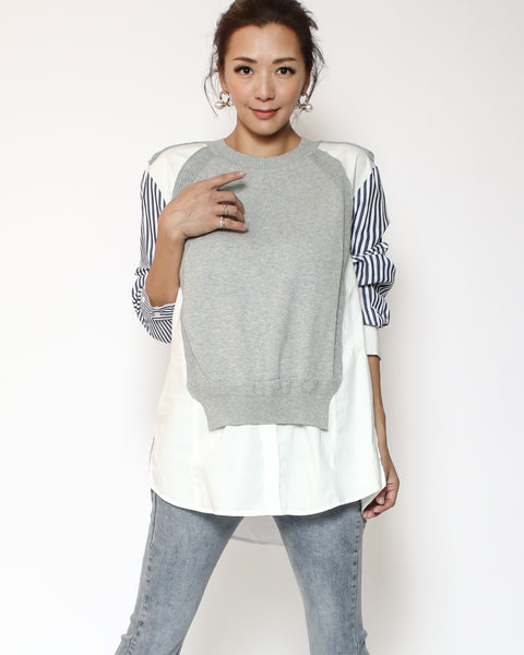 grey knitted with ivory shirt & blue stripes sleeves contrast top