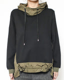 black tee with olive green technic weave hoodie sweatshirt *pre-order*