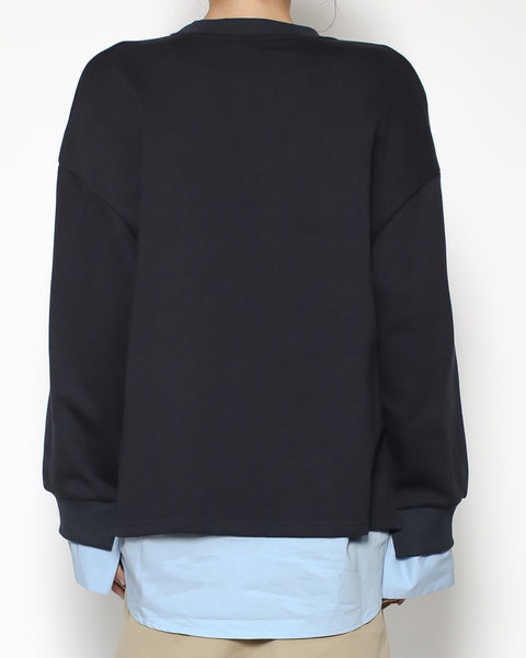 navy sweatshirt with blue shirt layer *pre-order*
