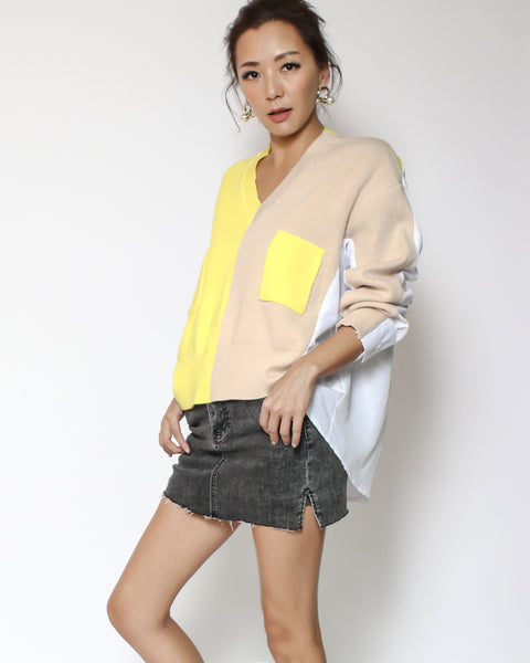 beige & yellow knitted with white shirt back contrast top *pre-order*