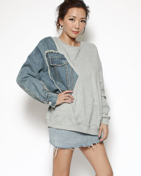 grey sweatshirt with denim sleeve